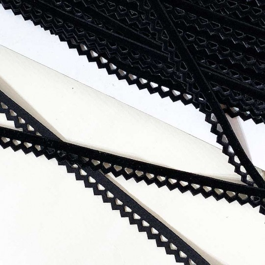 "Soft Velvet Openwork Ribbon Trim in Black ~ 7/16"" wide"