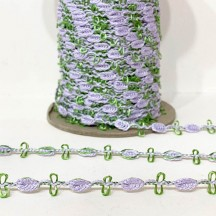 Old Store Stock Rosebud Trim in Lavender & Willow Green