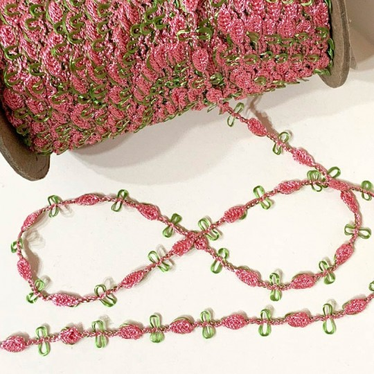 Old Store Stock Rosebud Trim in Rose Pink & Willow Green