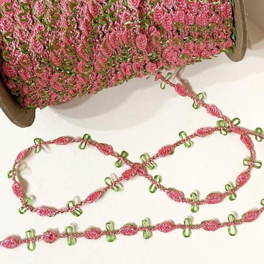 Old Store Stock Rosebud Trim in Rose Pink & Willow Green
