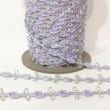 Old Store Stock Rosebud Trim in Lavender & Celery Green