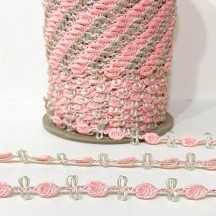 Old Store Stock Rosebud Trim in Sauna Pink & Celery Green