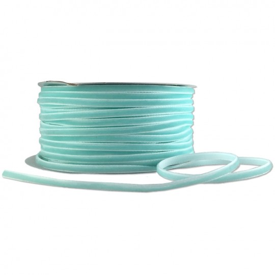 "Tiny Velvet Ribbon Trim in Aqua ~ 1/8"" wide"