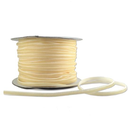 """Tiny Velvet Ribbon Trim in Butter Cream ~ 1/8"""" wide"""