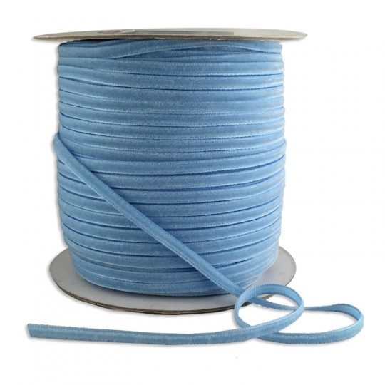 "Tiny Velvet Ribbon Trim in Light Blue ~ 1/8"" wide"