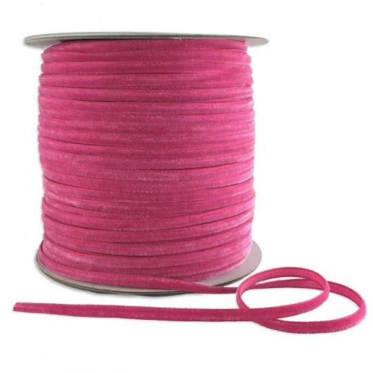 "Tiny Velvet Ribbon Trim in Medium Pink ~ 1/8"" wide"