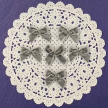 Small Vintage Velvet Bows ~ Set of 6 ~ DARK GREY