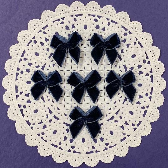 Small Vintage Velvet Bows ~ Set of 6 ~ NAVY BLUE
