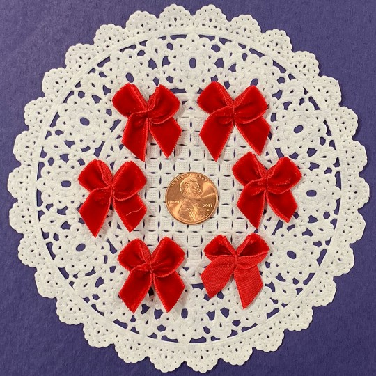 Small Vintage Velvet Bows ~ Set of 6 ~ TRUE RED