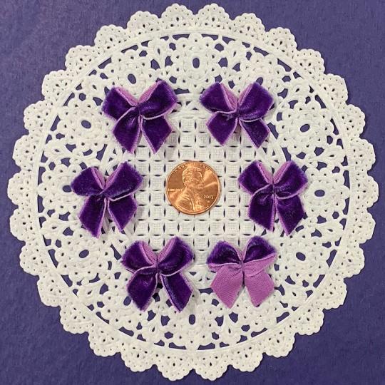 Small Vintage Velvet Bows ~ Set of 6 ~ PURPLE