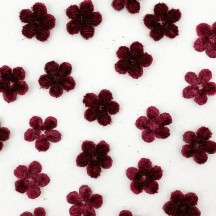 Mini Die-cut Velvet Forget Me Not Flowers ~ Set of 48 ~ BURGUNDY