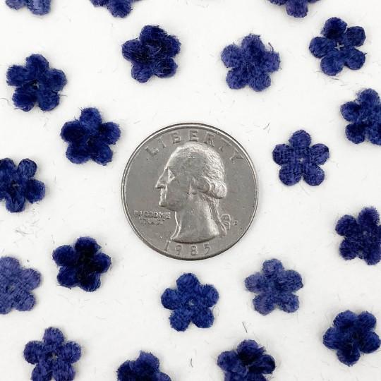 Mini Die-cut Velvet Forget Me Not Flowers ~ Set of 48 ~ DARK BLUE