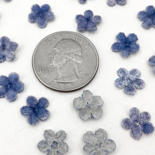 Mini Die-cut Velvet Forget Me Not Flowers ~ Set of 48 ~ LIGHT BLUE