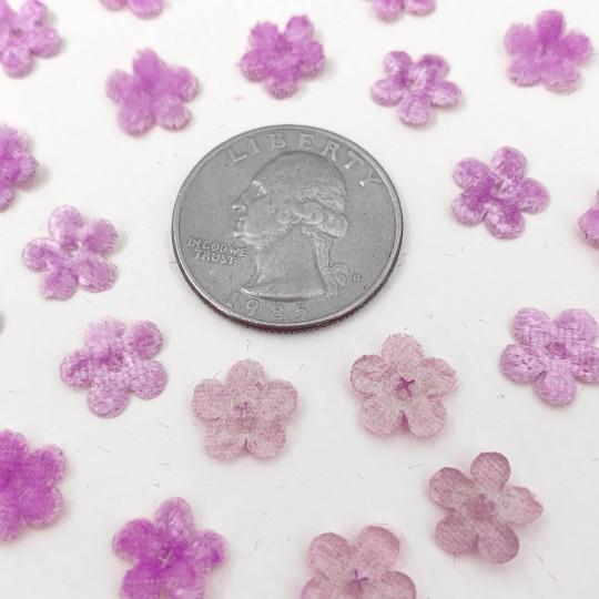 Mini Die-cut Velvet Forget Me Not Flowers ~ Set of 48 ~ LIGHT PURPLE