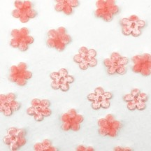 Mini Die-cut Velvet Forget Me Not Flowers ~ Set of 48 ~ LIGHT PINK