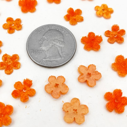 Mini Die-cut Velvet Forget Me Not Flowers ~ Set of 48 ~ ORANGE