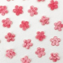 Mini Die-cut Velvet Forget Me Not Flowers ~ Set of 48 ~ PINK