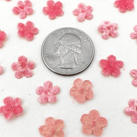 Mini Die-cut Velvet Forget Me Not Flowers ~ Set of 48 ~ PINK