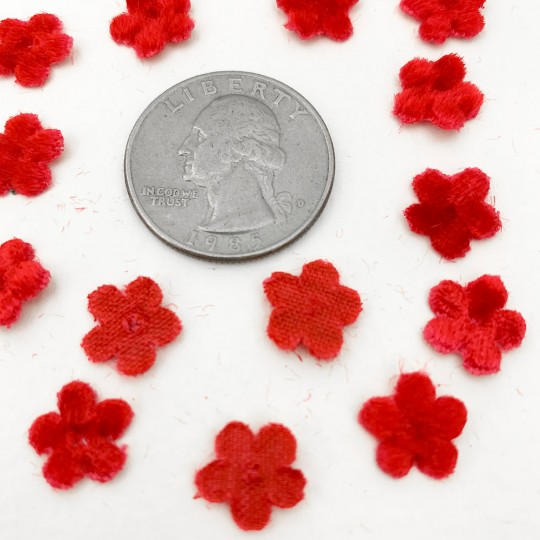 Mini Die-cut Velvet Forget Me Not Flowers ~ Set of 48 ~ RED