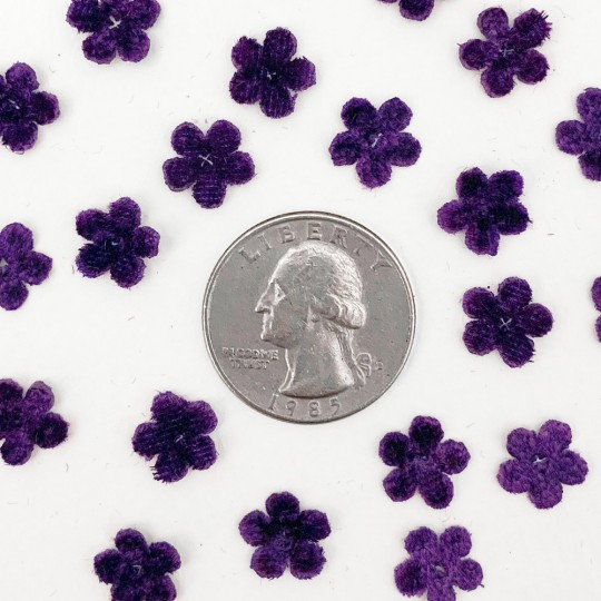 Mini Die-cut Velvet Forget Me Not Flowers ~ Set of 48 ~ VIOLET PURPLE