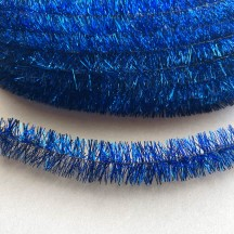 "Cobalt Blue Metallic Wired Tinsel Trim or Garland ~ 7/8"" wide ~ 10 meter length"