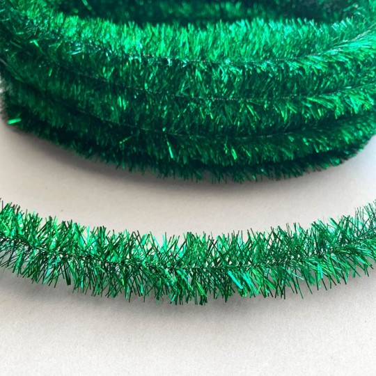 "Emerald Green Metallic Wired Tinsel Trim or Garland ~ 7/8"" wide ~ 10 meter length"