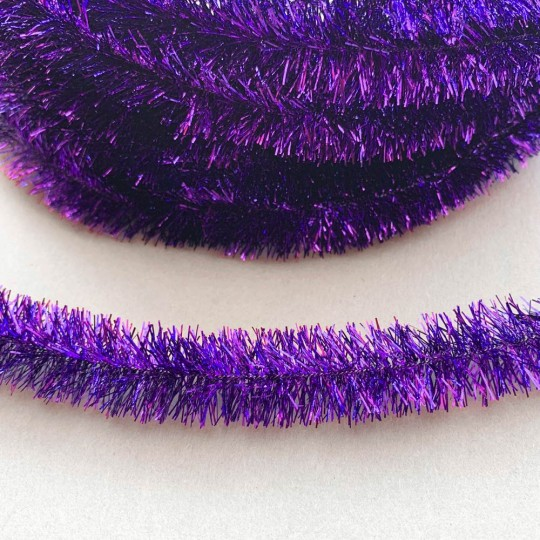 "Violet Purple Metallic Wired Tinsel Trim or Garland ~ 7/8"" wide ~ 10 meter length"
