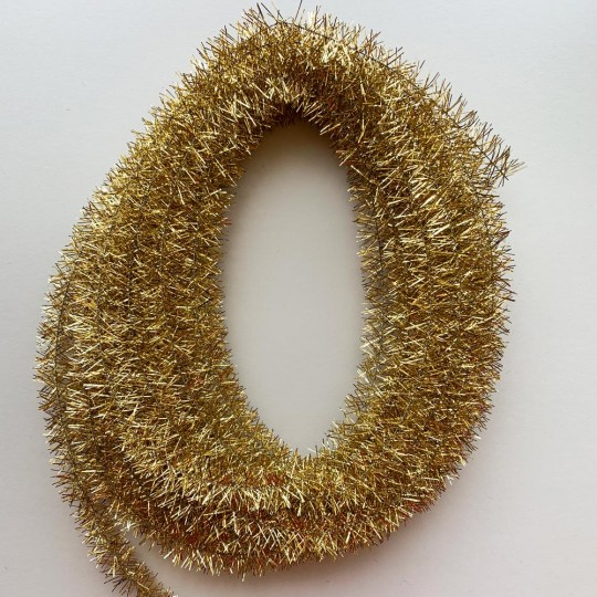Bright Gold Wired Metallic Tinsel Trim ~ 10 meters