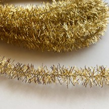 "Bright Gold Metallic Wired Tinsel Trim or Garland ~ 7/8"" wide ~ 10 meter length"