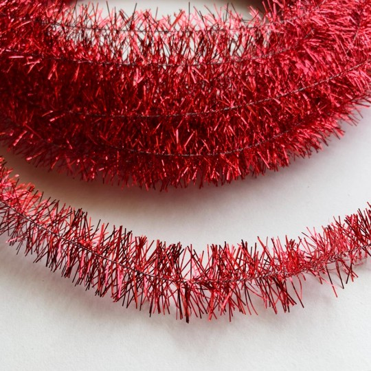 Bright Red Wired Metallic Tinsel Trim ~ 10 meters