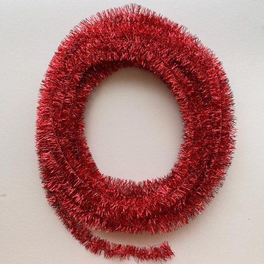 "Bright Red Metallic Wired Tinsel Trim or Garland ~ 7/8"" wide ~ 10 meter length"