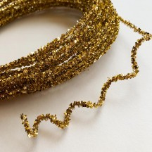 "Mini Metallic Wired Tinsel Cord in Gold ~ 1/8"" wide ~ 10 meter length"