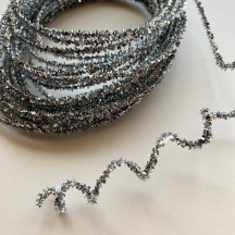 Mini SIlver Wired Metallic Tinsel Trim ~ 10 meters