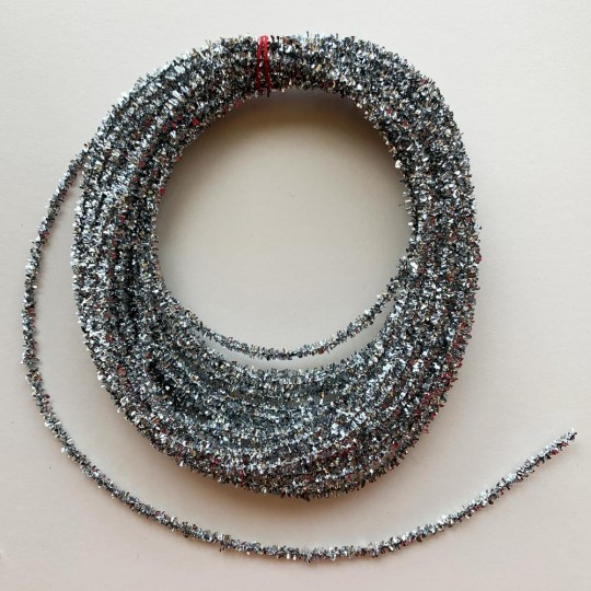 "Mini Metallic Wired Tinsel Cord in Silver ~ 1/8"" wide ~ 10 meter length"