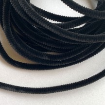 Soft 8mm Wired Chenille Cording in Black ~ 1 yd.