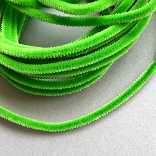 Soft 8mm Wired Chenille Cording in Bright Green ~ 1 yd.