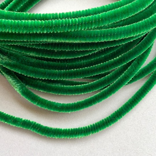 Soft 8mm Wired Chenille Cording in Green ~ 1 yd.