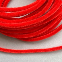 Soft 8mm Wired Chenille Cording in Red ~ 1 yd.