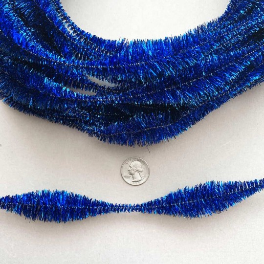 "Large 5"" Bump Chenille in Metallic Blue Tinsel ~ 1 yd."