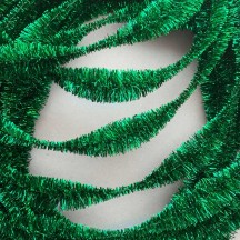 "Large 5"" Bump Chenille in Metallic Green Tinsel ~ 1 yd."