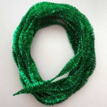 "Large 5"" Bump Chenille in Metallic Green Tinsel ~ BULK ~ 10 Meter Garland Length"