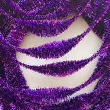 "Large 5"" Bump Chenille in Metallic Violet Purple Tinsel ~ 1 yd."