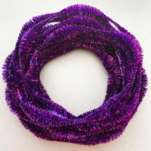 "Large 5"" Bump Chenille in Metallic Violet Purple Tinsel ~ BULK ~ 10 Meter Garland Length"