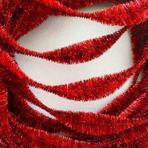 "Large 5"" Bump Chenille in Metallic Red Tinsel ~ 1 yd."
