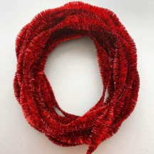 "Large 5"" Bump Chenille in Metallic Red Tinsel ~ BULK ~ 10 Meter Garland Length"