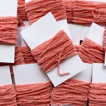 "Coral & White + Silver Chenille Sparkle Cording ~ 5 yards ~ Tiny 1/8"" wide"