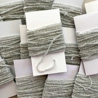 "Ivory & Silver Chenille Sparkle Cording ~ 5 yards ~ Tiny 1/8"" wide"