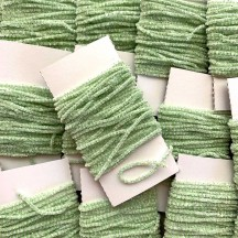 "Light Green & White + Silver Chenille Sparkle Cording ~ 5 yards ~ Tiny 1/8"" wide"