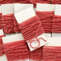 "Red & White + Silver Chenille Sparkle Cording ~ 5 yards ~ Tiny 1/8"" wide"