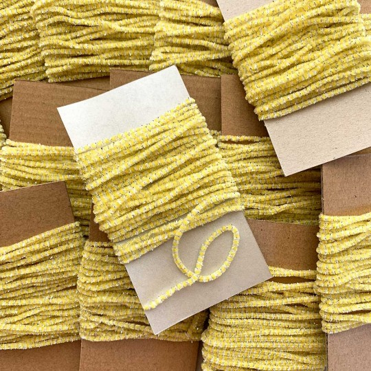 "Yellow & White + Silver Chenille Sparkle Cording ~ 5 yards ~ Tiny 1/8"" wide"